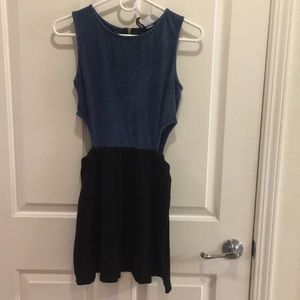 H&M Denim & Black Cutout Dress - S